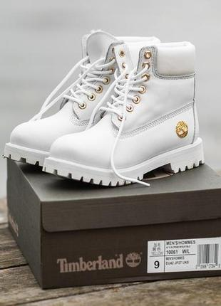 Шикарные женские ботинки timberland с мехом белые зимние теплы...