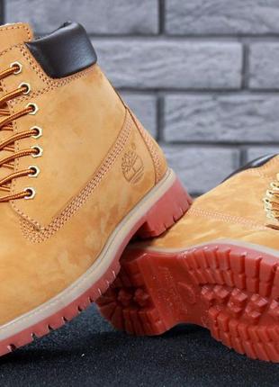 Шикарные мужские ботинки timberland boots рыжие с мехом зимние...