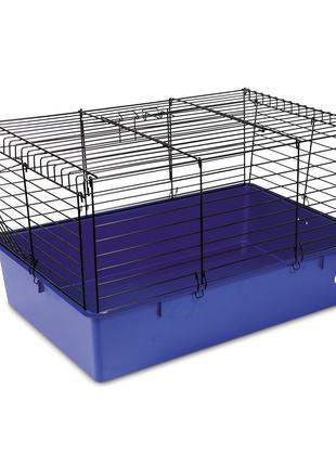 Клетка Кролик 70 для грызунов черная-синяя ТМ Природа 70х45х40см