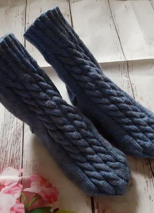 Вязаные зимние носки с узором Косы ручная работа размер 37-38 ...