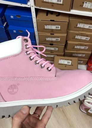 Шикарные женские ботинки timberland pink с мехом зимние 😃 (зима)