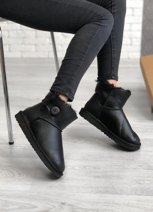 Шикарные женские сапоги угги ugg bailey button mini black чёрн...