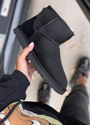 Ugg classic mini 2 black шикарные женские сапоги ботинки натур...