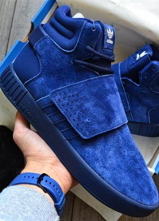 Adidas tubular invader blue синие шикарные мужские кроссовки о...