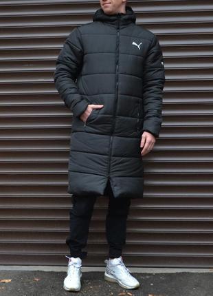 Удлиненная зимняя парка puma мужская теплая длинная чёрная