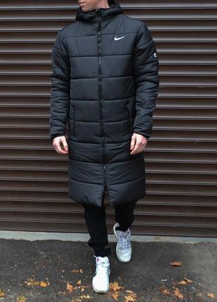Удлиненная зимняя парка nike мужская теплая длинная чёрная