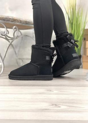 Ugg bailey bow black шикарные женские сапоги ботинки зимние те...