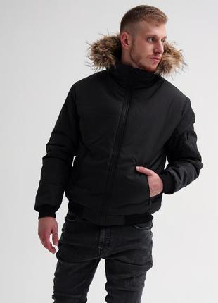 Зимняя куртка с мехом топ-качества чёрная зимняя мужская