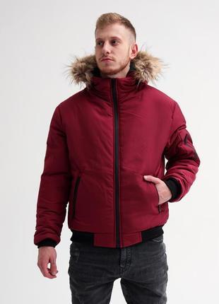Зимняя куртка с мехом топ-качества бордовая зимняя мужская