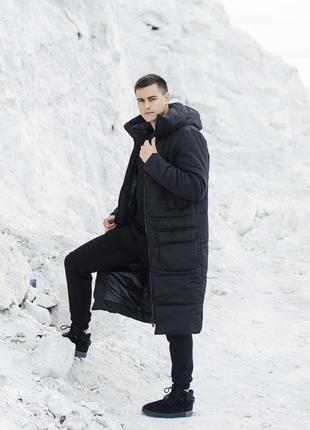 Шикарная мужская куртка удлиненная парка чёрная