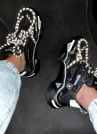 Calvin klein black шикарные женские кроссовки весна лето осень...