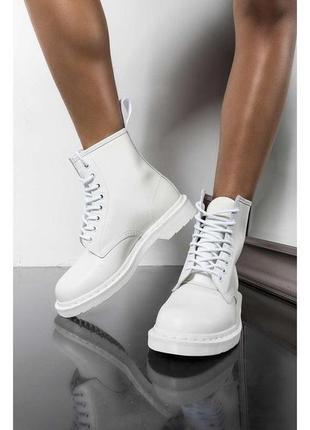 Dr. martens 1460 mono white fur шикарные женские ботинки с мех...