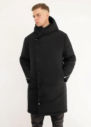 Мужская парка длинная чёрная с капюшоном зимняя теплая удлиненная