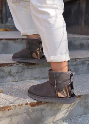 😊ugg mini grey metallic🤗 женские натуральные сапоги угги с мех...