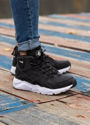 😊nike air huarache winter black white🤗 мужские кроссовки на зи...