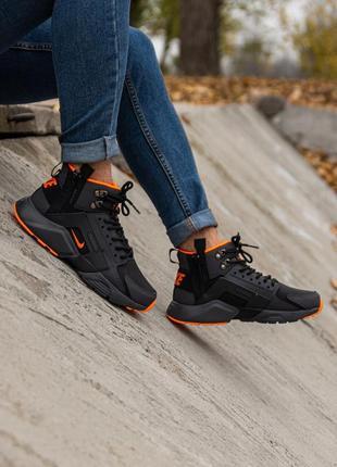 😊nike air huarache x acronym black orange🤗 мужские ботинки зим...