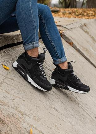 😊nike air max 90 sneakerboot black white🤗 мужские кроссовки ос...