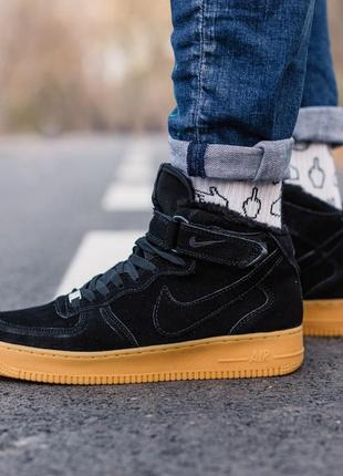 😊nike air force winter black 1 high🤗 женские кроссовки с мехом...