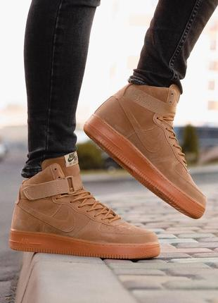 😊nike air force brown 1 high🤗 мужские кроссовки найк высокие