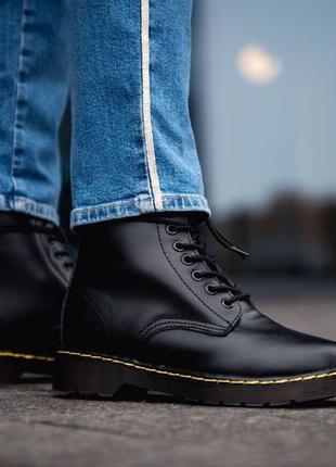😊dr. martens 1460 black fur🤗 женские ботинки мартинс с мехом ч...