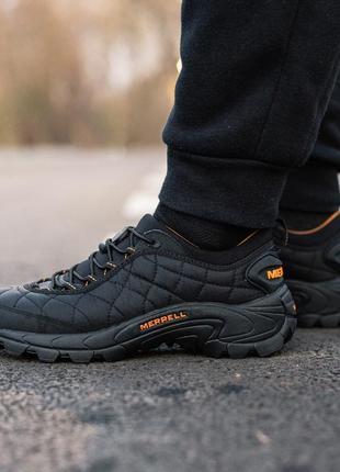 😊merrell ice cap moc 2 black orange🤗 мужские ботинки чёрные ос...