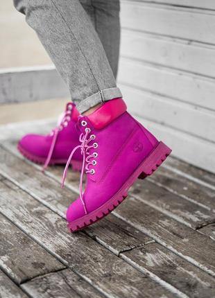 😊timberland fur🤗 женские ботинки тимберленд малиновые с мехом ...