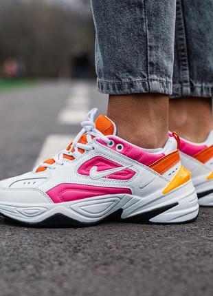 😊nike m2k tekno🤗 женские кроссовки найк белые с розовым весна ...