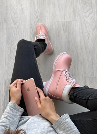 😊timberand pink🤗 женские ботинки тимберленд рыжие термо