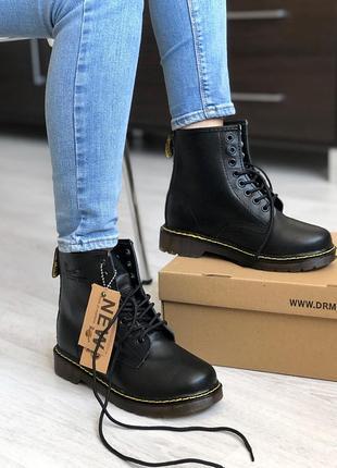 😊dr. martens 1460 black fur🤗 женские ботинки мартинс зима с мехом