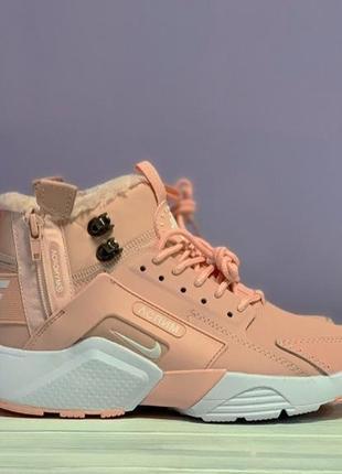 😊nike air huarache x acronym pink fur🤗 женские кроссовки с мех...