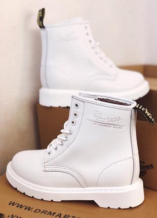 😊dr.martens white 1460🤗 женские зимние ботинки белые с мехом т...