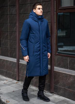 😊мужская куртка пальто зимнее🤗 удлиненная синяя теплая зимняя