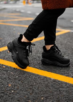 😊buffalo london black fure🤗 женские зимние кроссовки с мехом ч...
