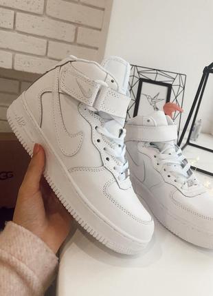 😊nike air force 1 high fur🤗 зимние женские кроссовки с мехом б...
