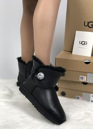 Ugg bailey button mini black leather 🤗 натуральные женские сап...