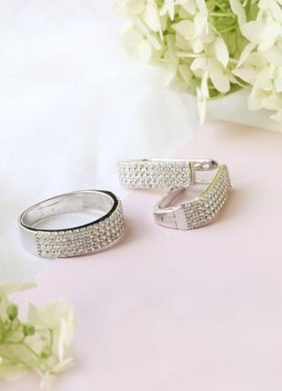 Комплект серебро 925 кольцо и серьги лк0076