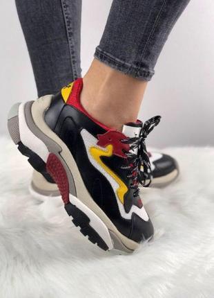 Шикарные женские кроссовки ash addict sneakers black/red/white