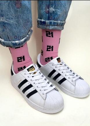 Шикарные кроссовки adidas superstar white black