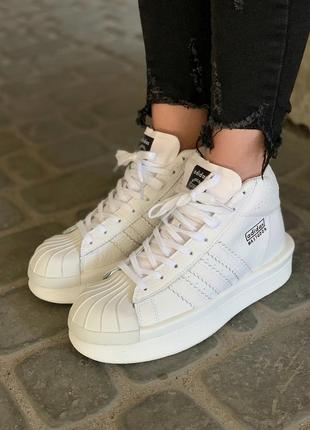 Шикарные женские кроссовки adidas x rick owens triple white
