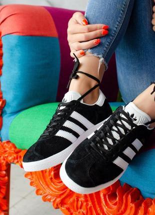 Шикарные женские кроссовки adidas gazelle black