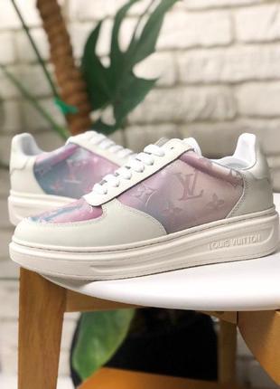 Шикарные женские кроссовки louis vuitton sneakers pink white