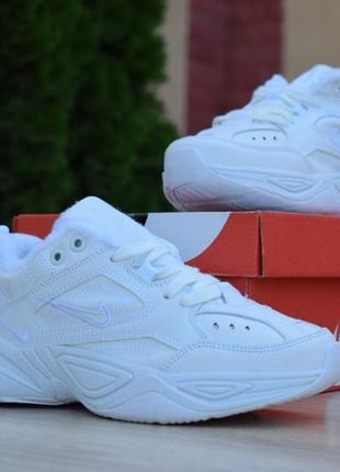 Шикарные женские зимние кроссовки nike m2k tekno white