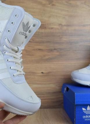 Шикарные женские adidas  сапоги белые дутики зимние