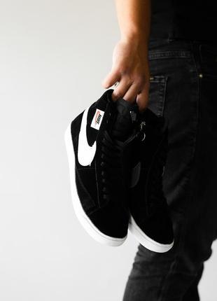 Шикарные женские кроссовки nike blazzer black