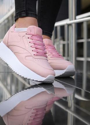 Шикарные женские кроссовки reebok classic leather double