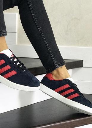 Шикарные женские кроссовки adidas gazelle blue/red