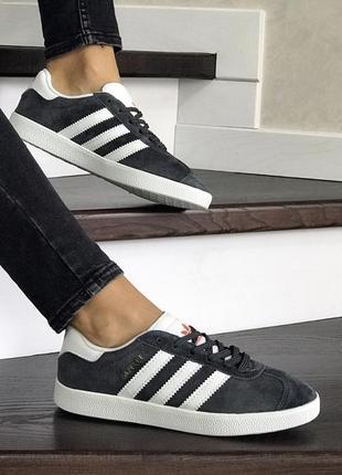 Шикарные женские кроссовки adidas gazelle grey