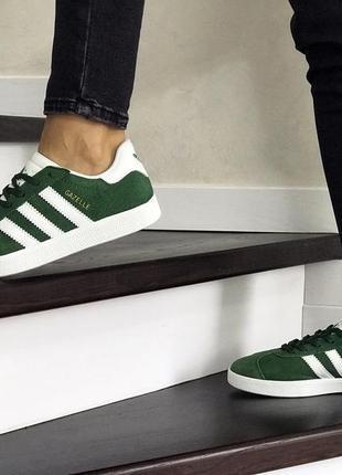 Шикарные женские кроссовки adidas gazelle green