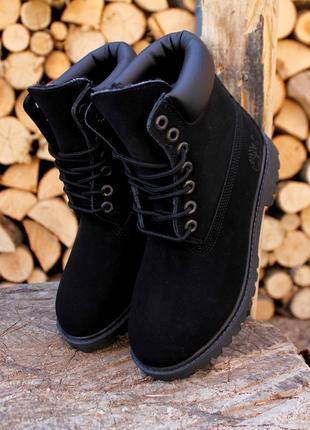 Шикарные женские зимние ботинки с мехом timberland black