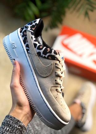 Шикарные женские  кроссовки nike air force 1 leopard & beige